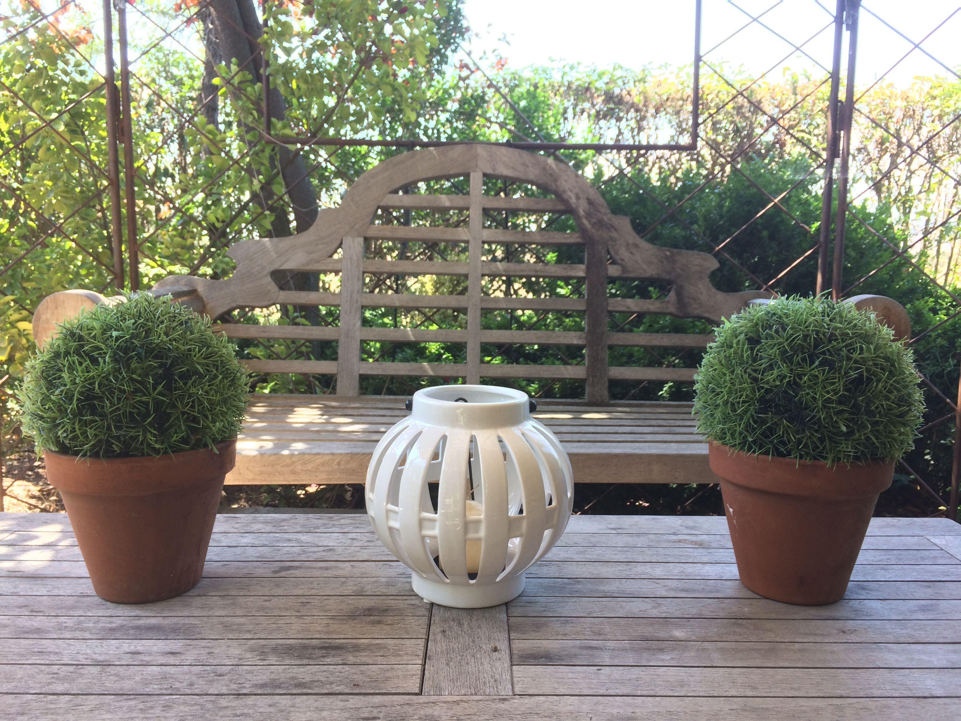 Portavelas bola cerámica