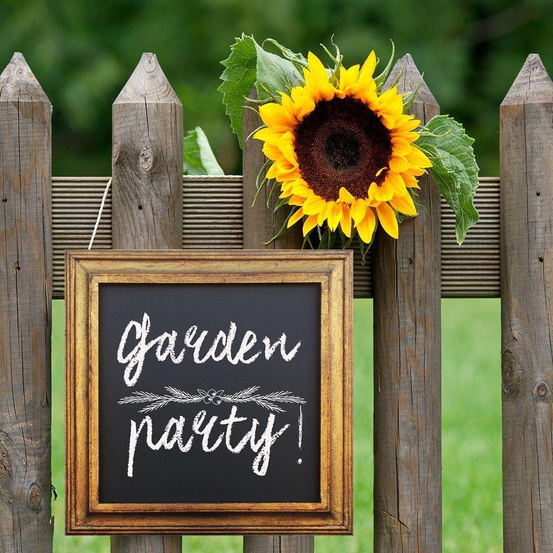 Pizarra garden party