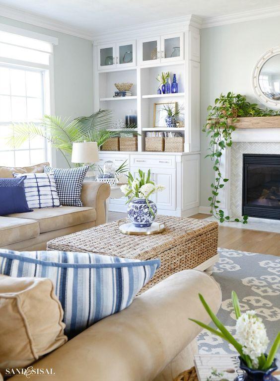 textiles azules para el salón