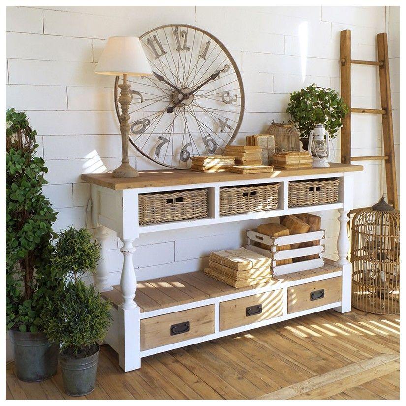 consola blanco casa rustica